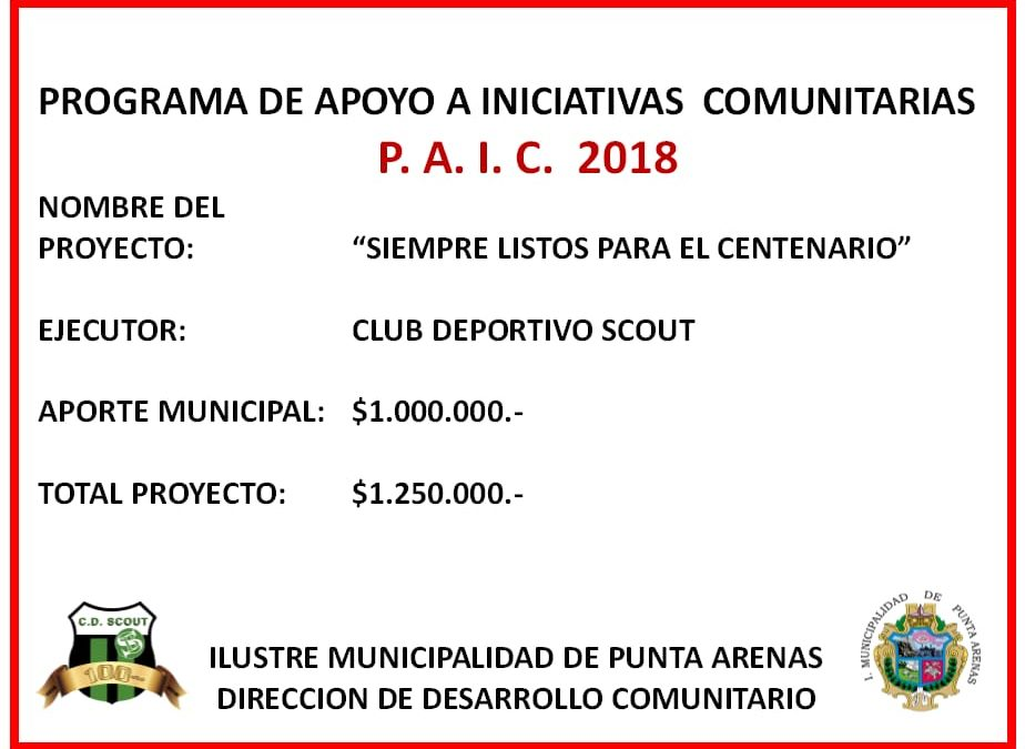 Proyecto PAIC 2018 - Club Deportivo Scout